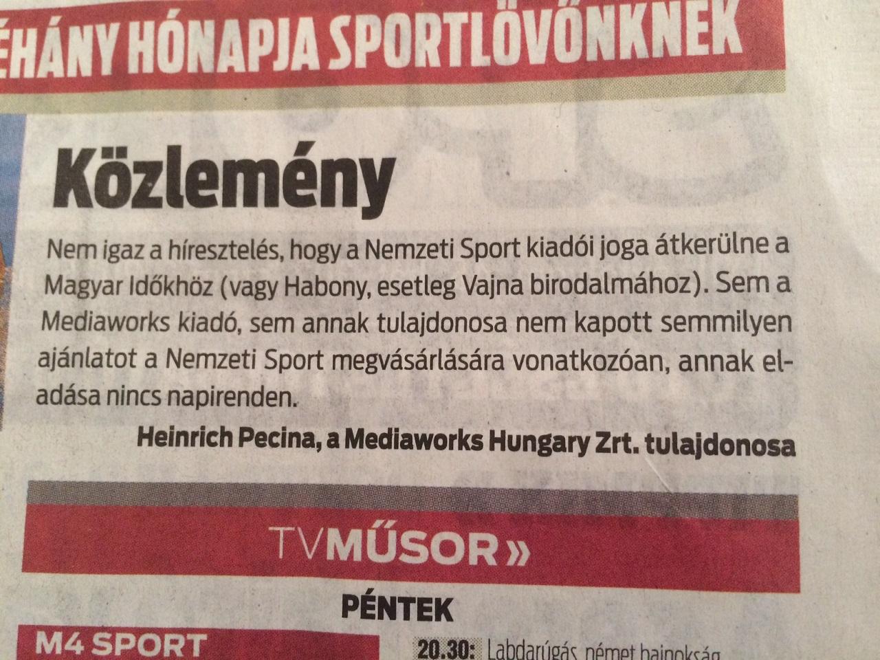 Személyesen Orbánnak üzennek egy bizarr közleménnyel a Nemzeti Sportban?