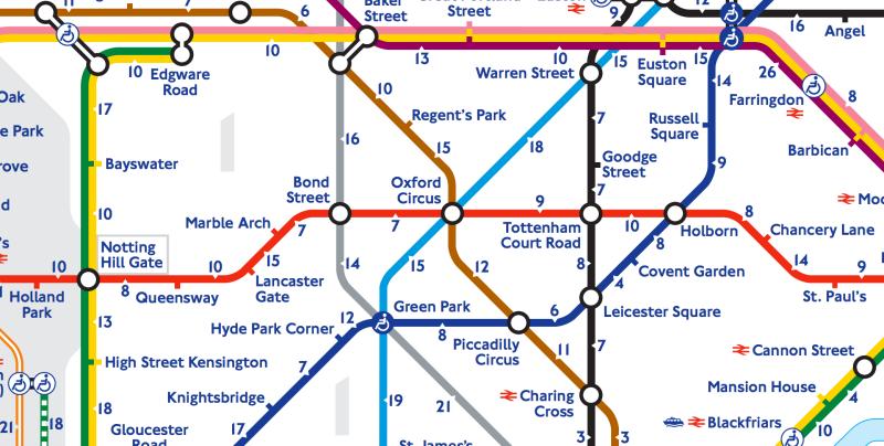 Az új londoni metrótérképen rajta lesz az is, hogy hány percnyi sétára van két megálló