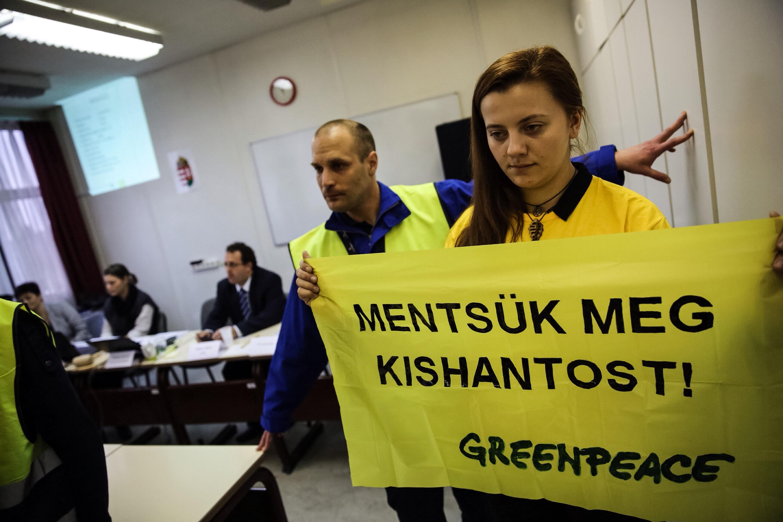 A tárgyalóteremhez láncolták magukat a Greenpeace aktivistái, hogy megakadályozzák a kishantosi földek eladását
