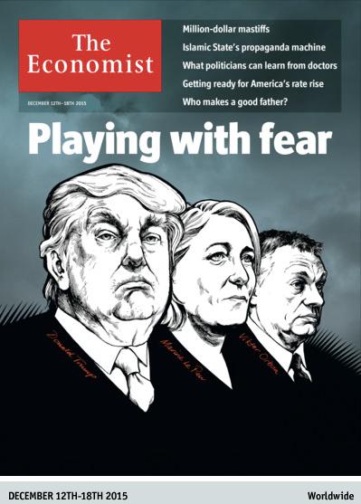 Szélsőségesek játszanak rá a félelemre: Orbán az Economist címlapján Donald Trump és Marine Le Pen mellett látható