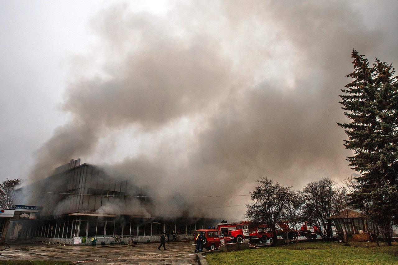 Leégett Ungvár legrégebbi plázája