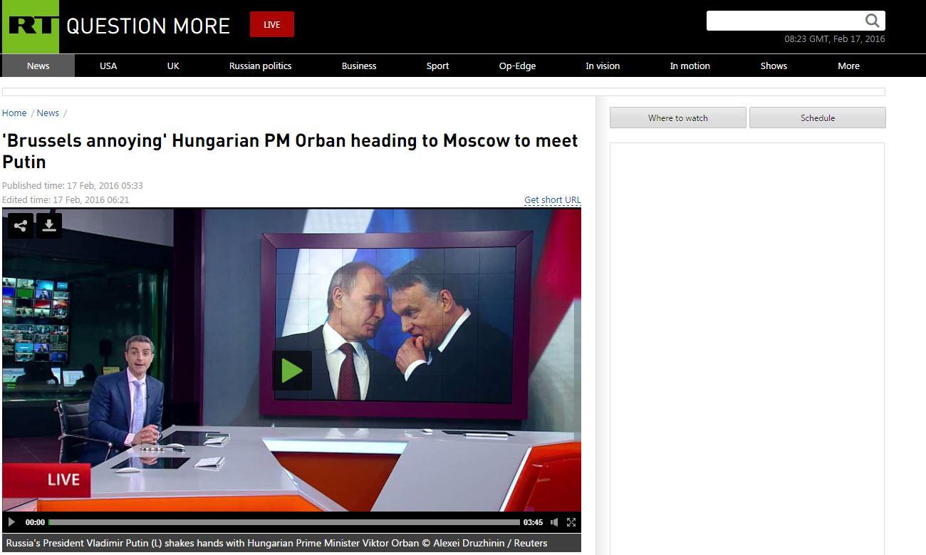 Az orosz állami média köszönti a Brüsszelt bosszantó Orbánt