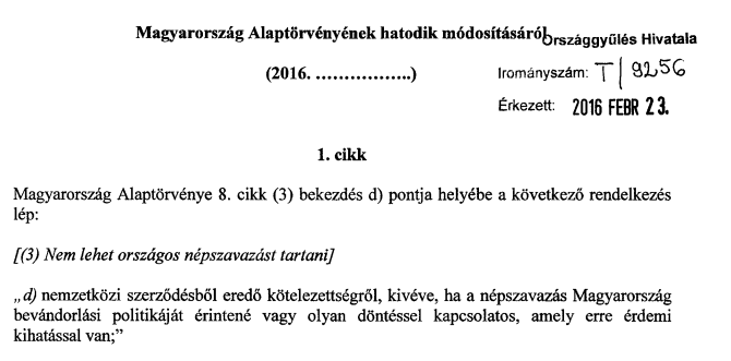 A Jobbik már tegnap beadott egy alkotmánymódosítót, hogy lehessen kvótás népszavazást tartani