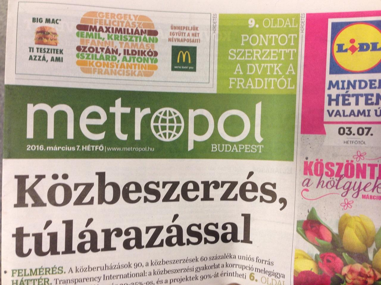 A BKV pályáztatásra hivatkozva kirúgta a Metropolt → pályázat nincs, jöhet a Lokál
