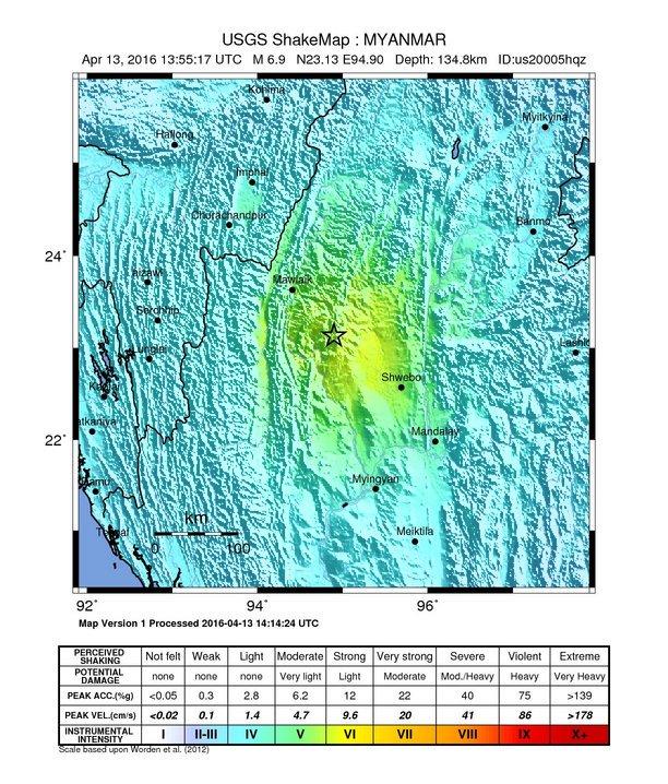 Nagyon erős földrengés volt az indiai-burmai határon