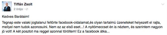 Nem kurvázta le a románokat, Tiffán Zsolt szerint feltörték a Facebook-oldalát