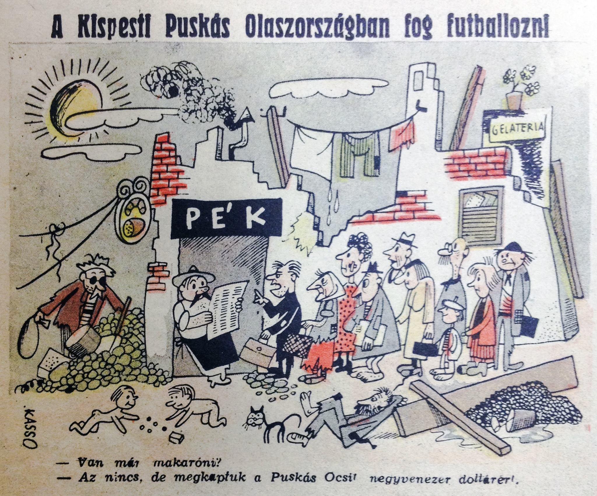 Egy 1945-ös karikatúra arról, hogy Puskás Öcsi Olaszországba igazol