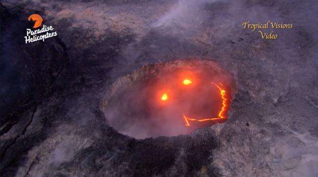 Mosolyogva tört ki egy tűzhányó Hawaiin
