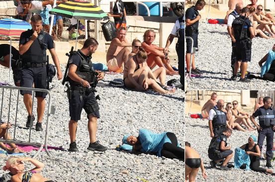 Strandon pihenő muszlim nőről vetették le a burkinit a francia rendőrök