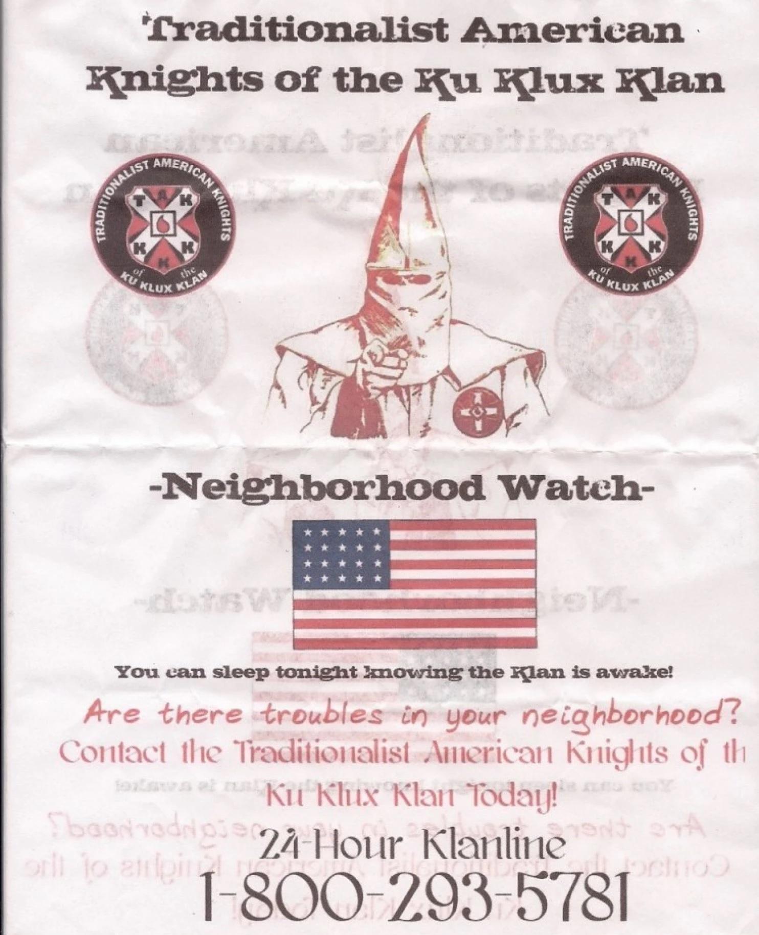 A Dél újra él: Amerika-szerte szórólapokkal hirdeti magát a Ku Klux Klan