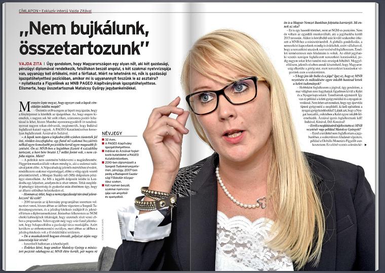 Hibátlan interjút adott Matolcsy György barátnője a Figyelőnek