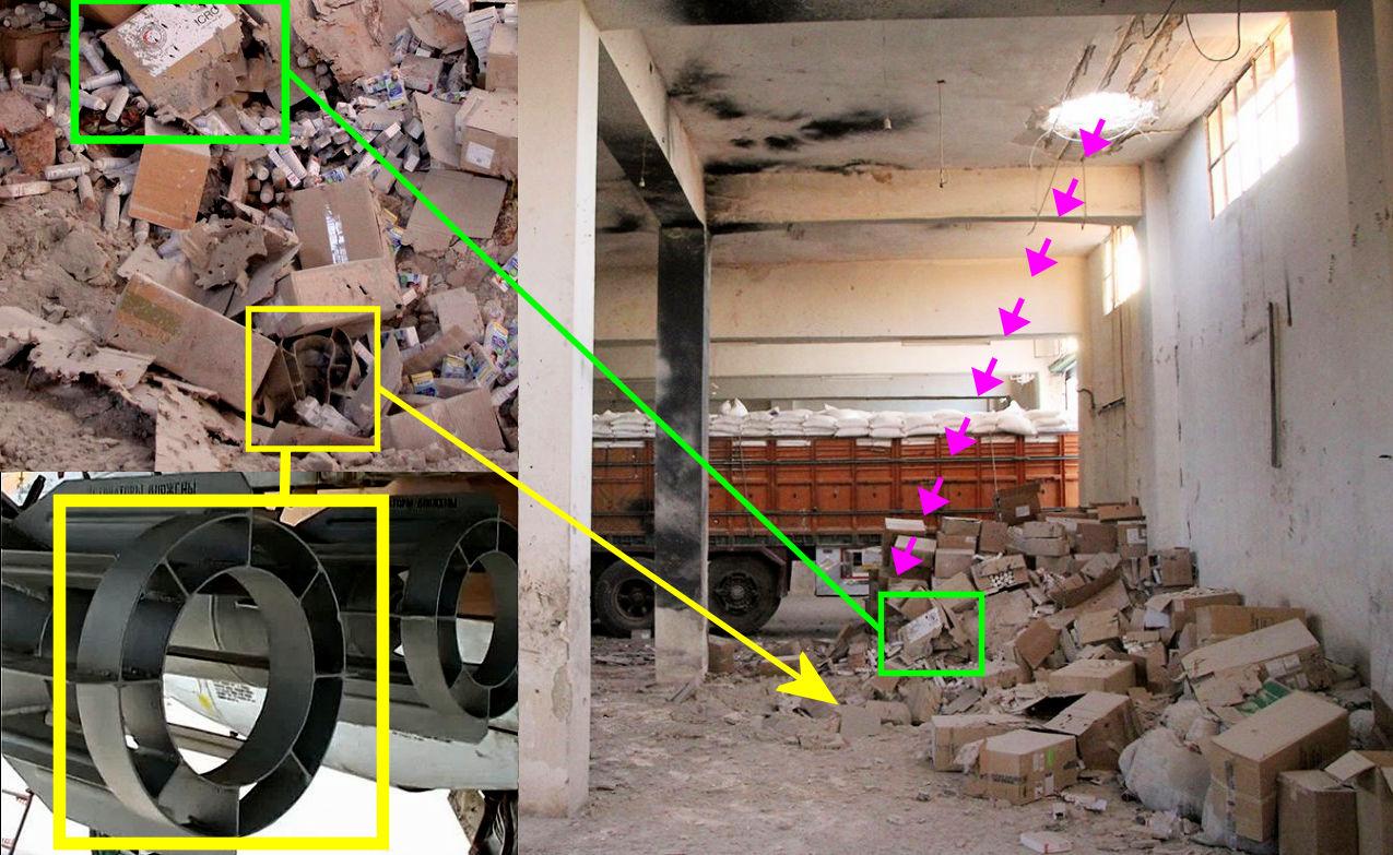 Orosz bomba darabjai látszanak a Szíriában szétlőtt egészségügyi konvoj maradványai közt