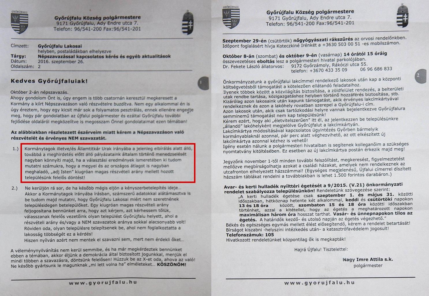 Győrújfalu polgármestere azt kéri, azért is szavazzanak a kvótanépszavazáson nemmel, hogy jobb esélyeik legyenek a pályázatokon
