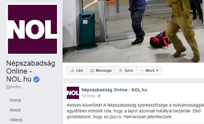 Ilyet még nem láttunk Magyarországon: a Facebookon üzente meg a Népszabadság, hogy puccs történt, miután leállították a lapot