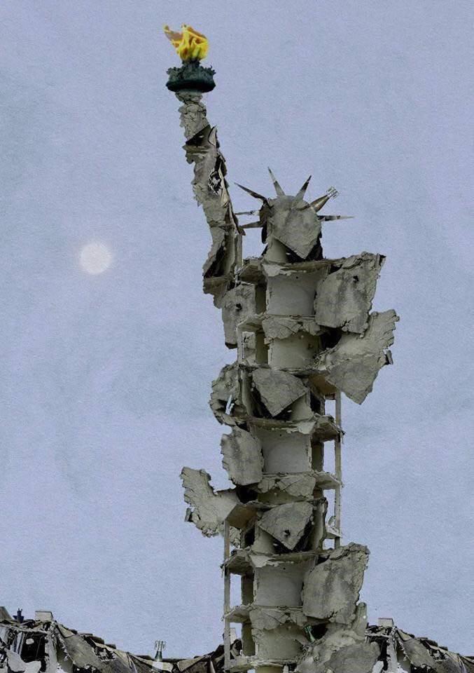 Aleppói romokból épített Szabadság-szobor lett a szír polgárháború új szimbóluma