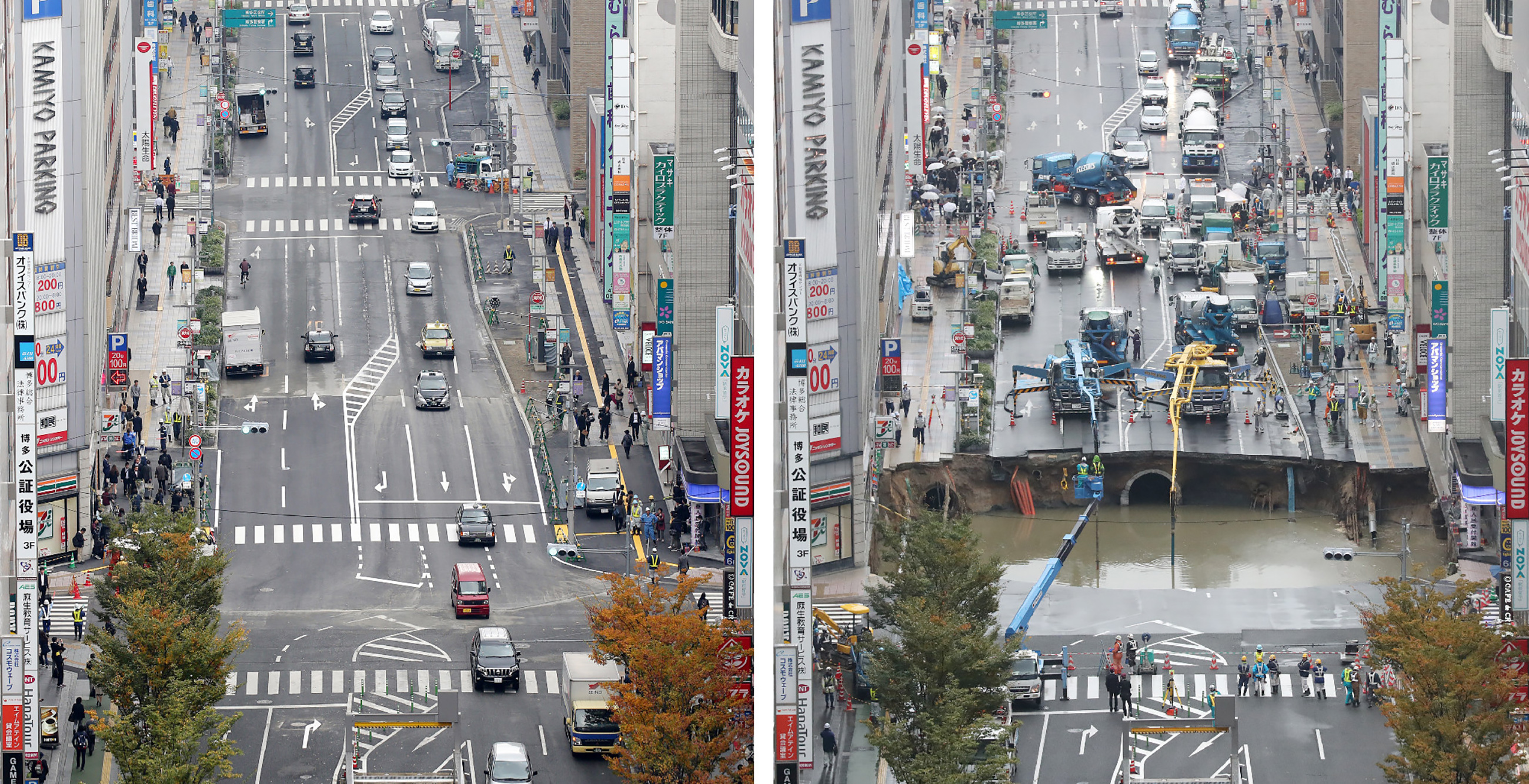 Napok alatt hoztak helyre egy óriási útbeszakadást Japánban