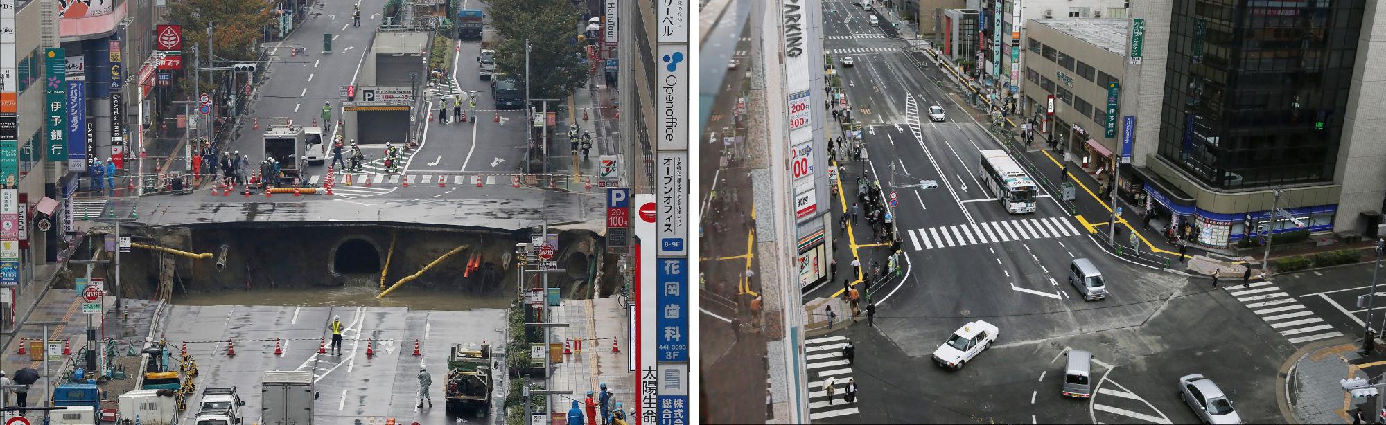 Megsüllyedt az óriáslyuk Japánban, amit már egyszer kisebb csodával befoltoztak
