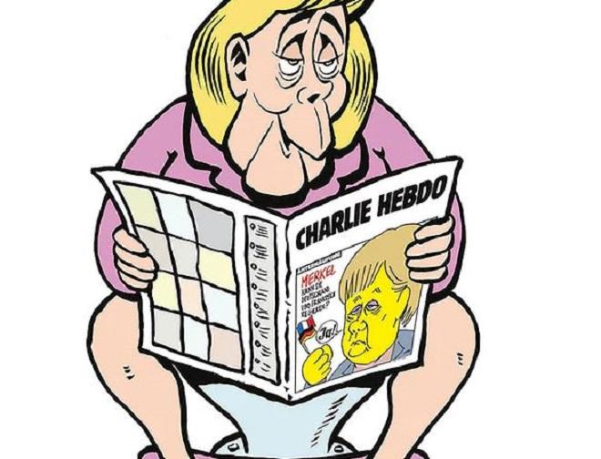 Megjelent a német Charlie Hebdo, Merkellel az első címlapon