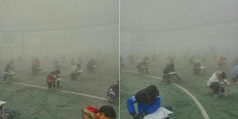 Egy kínai városban akkora a légszennyezettség, hogy egy hétre be kellett zárni az iskolákat, erre kiültették a gyerekeket vizsgázni a szmogba
