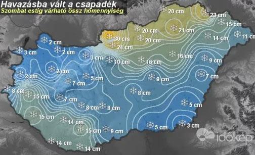 Éjszaka 20-30 centi hó hullt, a havazás főleg keleten folytatódik