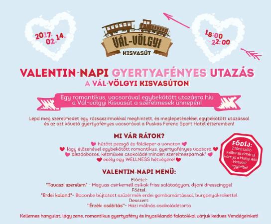 Rózsaszirmokkal hintett, gyertyafényes élményutazással várja a Valentin-napi szerelmeseket a felcsúti kisvasút