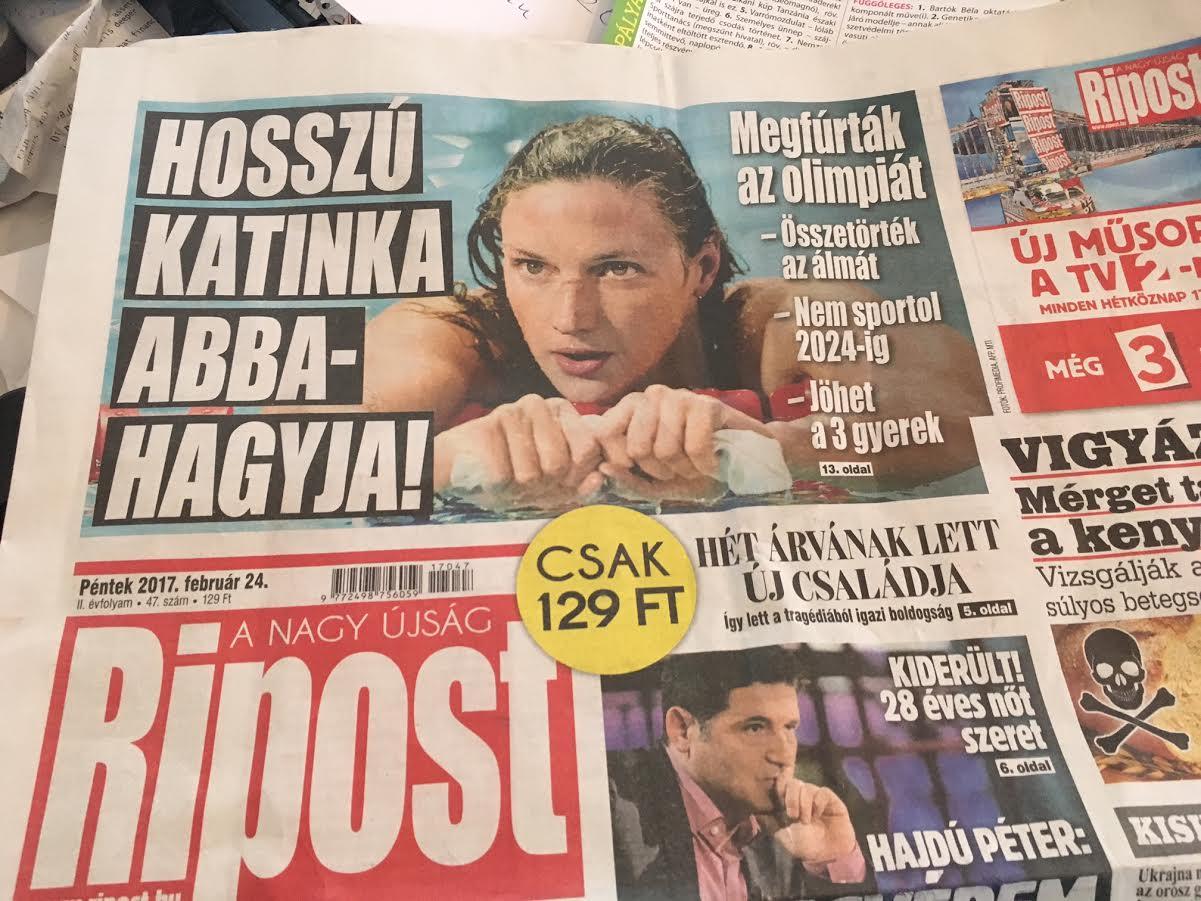 Óriási, de annál viccesebb hazugság a Ripost címlapján: Hosszú Katinka abbahagyja!