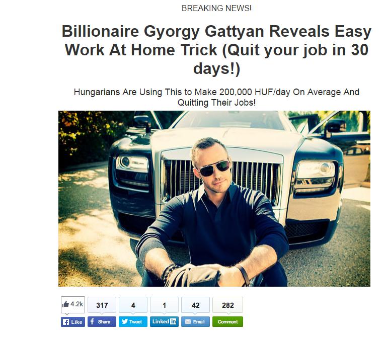 Nem szándékosan szerepel a pornómilliárdos Gattyán György a becsapós Facebook-reklámban