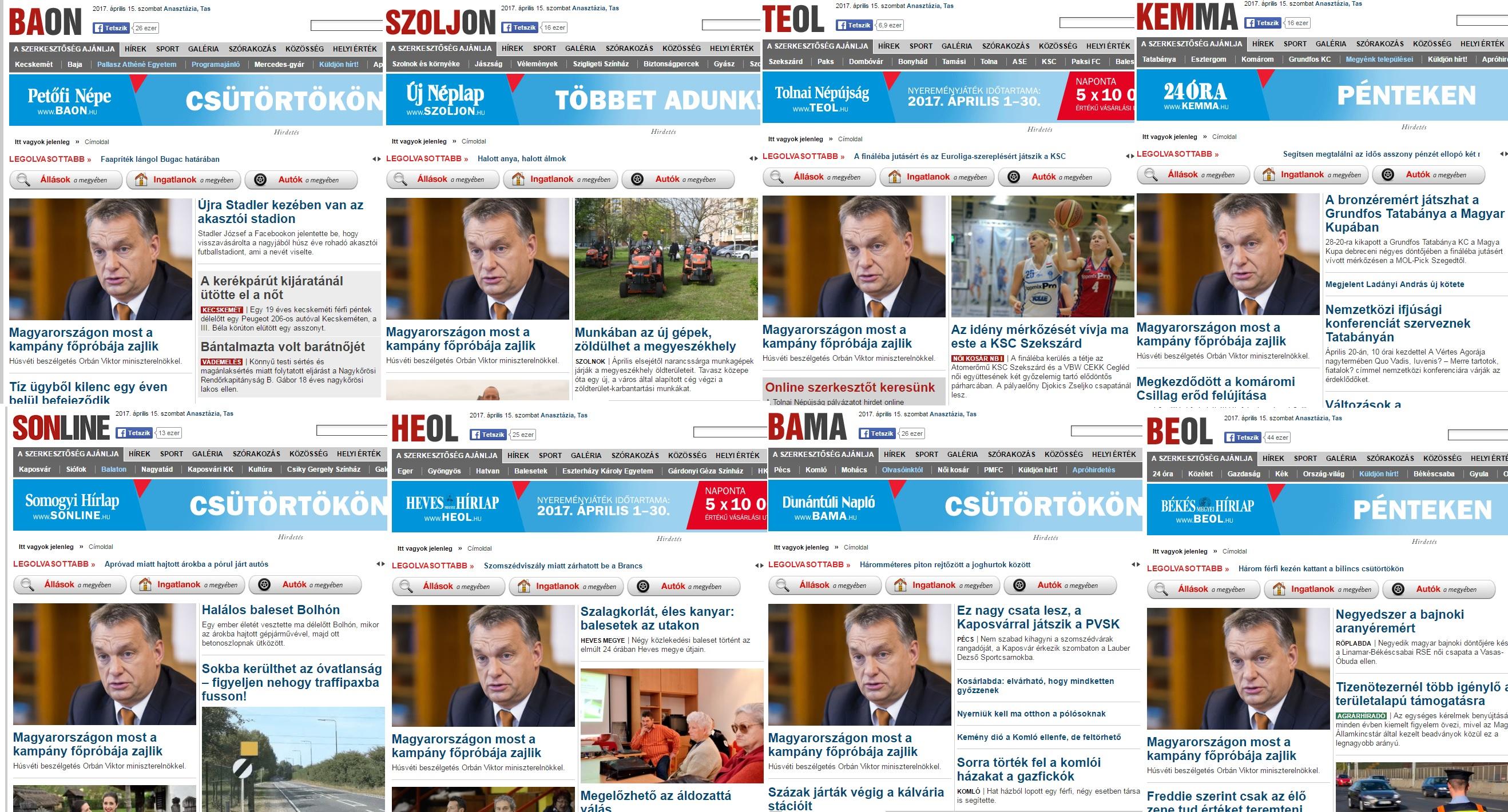 Ennyit arról, mi maradt a vidéki sajtó sokszínűségéből, mióta Mészáros Lőrinc kezébe került
