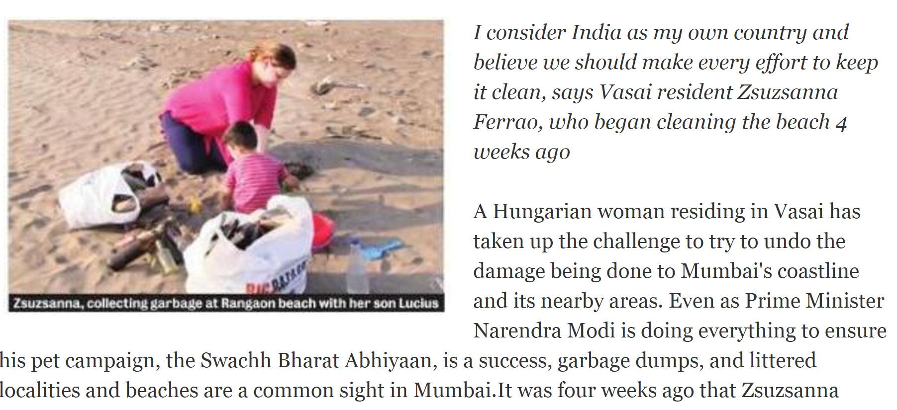 Zsuzsanna, a hős magyar asszony takarítja családjával a szemetet az indiai tengerparton