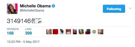 Michelle Obama fel akart hívni valakit, helyette véletlenül kiposztolta a Twitterre a számát