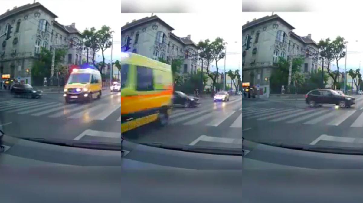 Hajszál híján nem ütközött össze egy autó és egy szirénázó mentő a Dózsa György úton