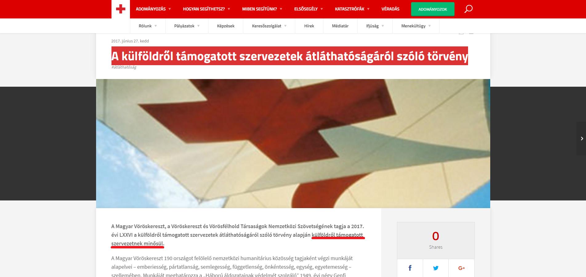 Már meg is van az első külföldről támogatott civil szervezet, a Magyar Vöröskereszt külön logót is csináltatott, hogy megfeleljen az új törvénynek