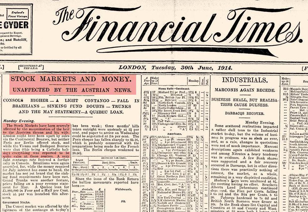 103 év késéssel igazított helyre egy átverős háborús kötvényes cikket a Financial Times