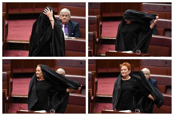 Burkában ment a parlamentbe az ausztrál bevándorlásellenes párt vezetője, hogy így kérje a burka betiltását