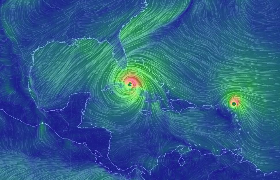 Csodálatos, úgynevezett lélegzetelállító széltérképen a nagy trópusi viharok