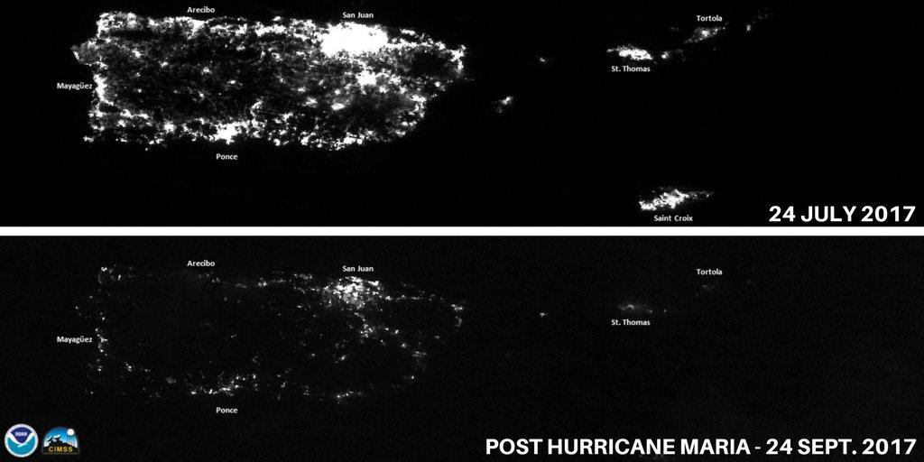 Ez a műholdkép a drámai akciófotóknál is jobban megmutatja, mennyire durva a helyzet Puerto Ricóban