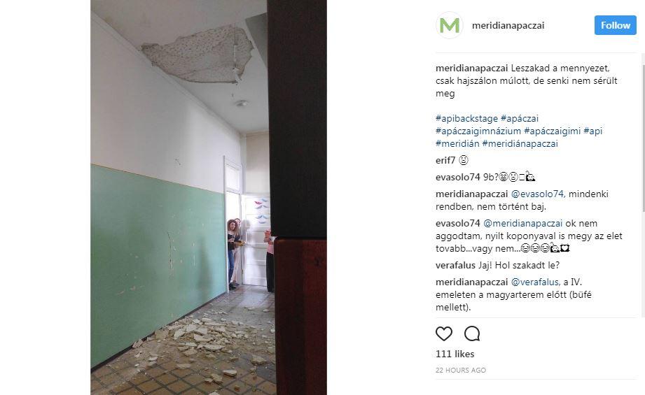 Leszakadt a mennyezet a budapesti Apáczai gimnáziumban