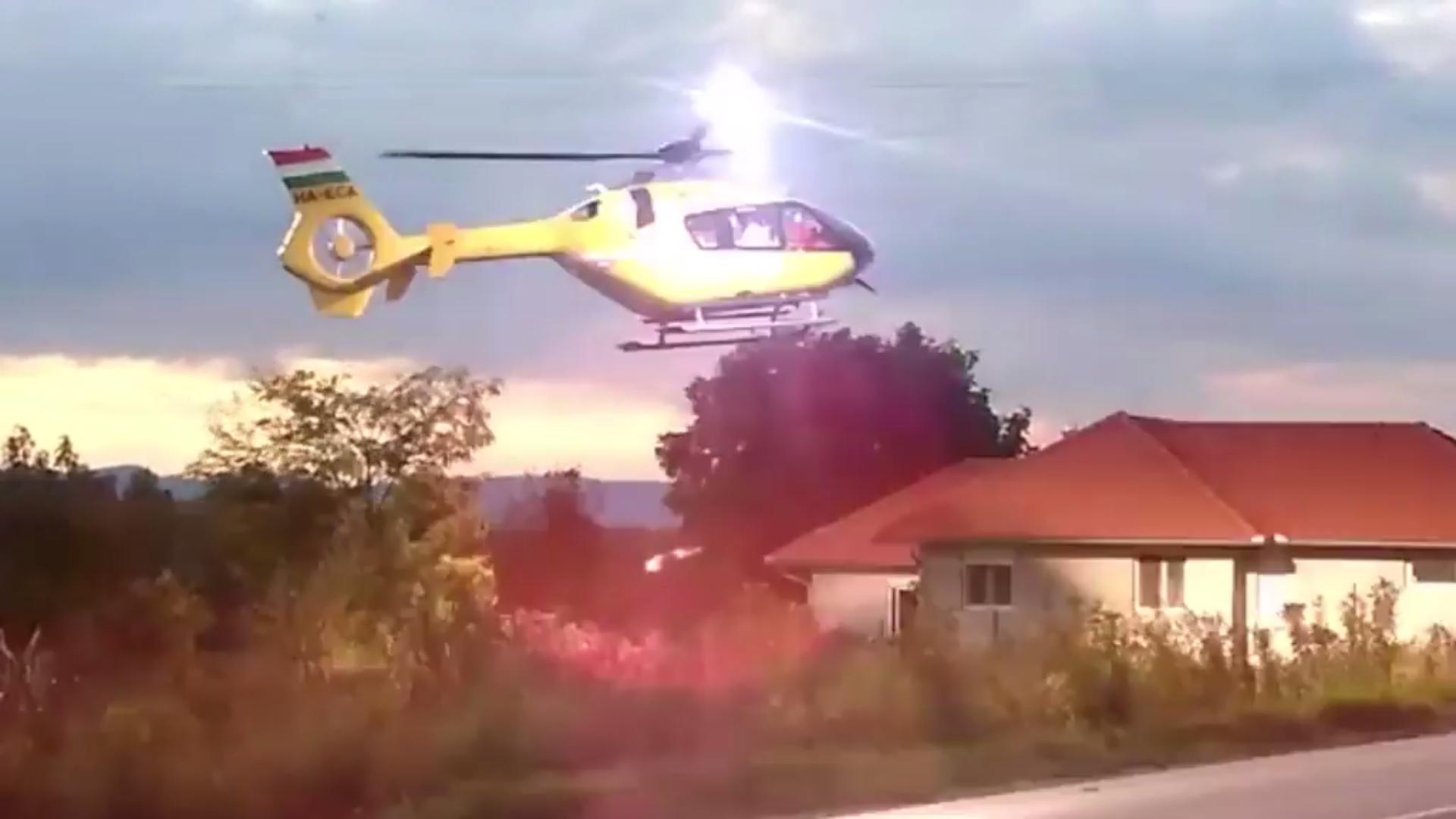 Videó a felsővezetéket elvágó mentőhelikopterről