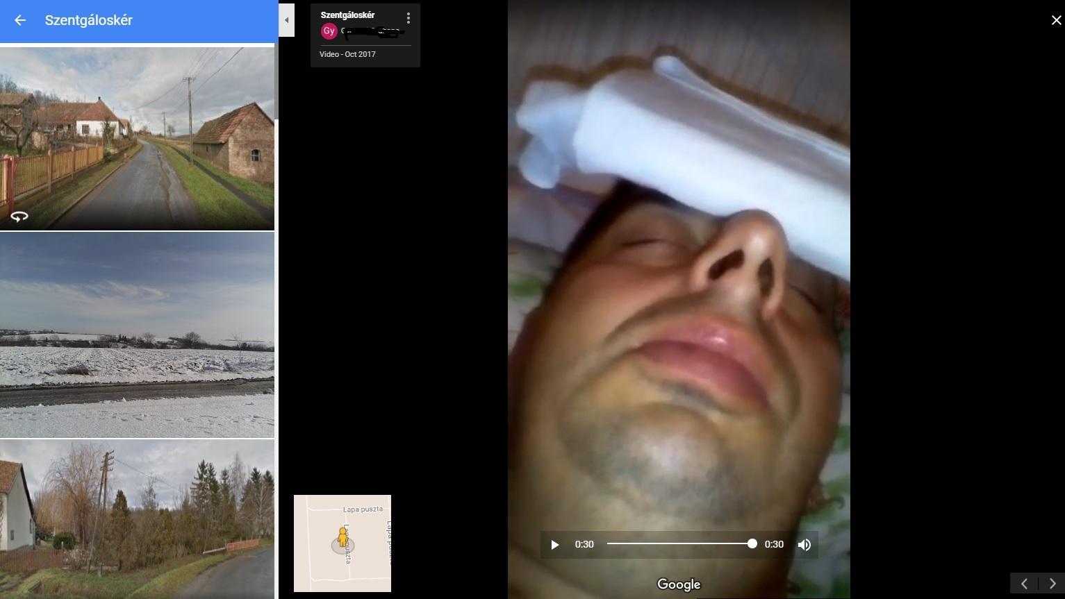 Keress rá a Google Mapsen Szentgáloskér községre, kattints a képekre, gördíts lefelé és meglátod a Totál Megkészülve Hortyogó Fickót!