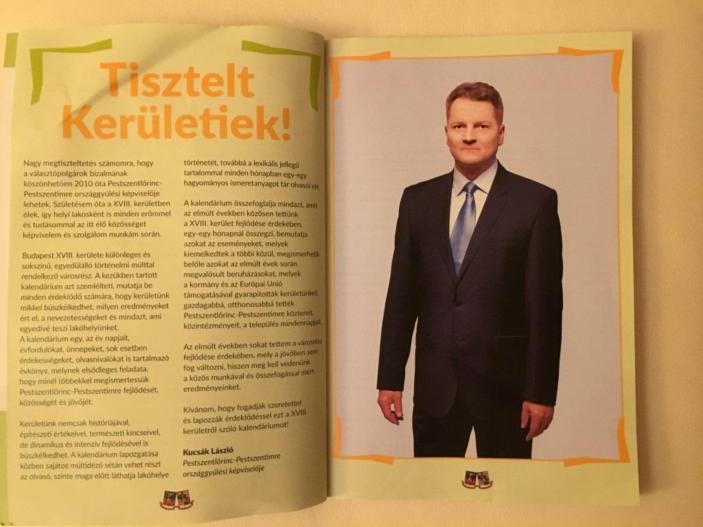 43 000 példány készült a kalendáriumból, ami tele van Kucsák László fideszes parlamenti képviselő fotójával