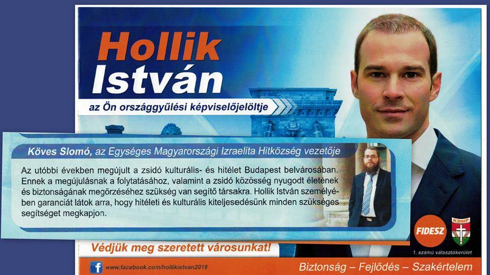 Köves Slomó a KDNP-s Hollik Istvánnak kampányol