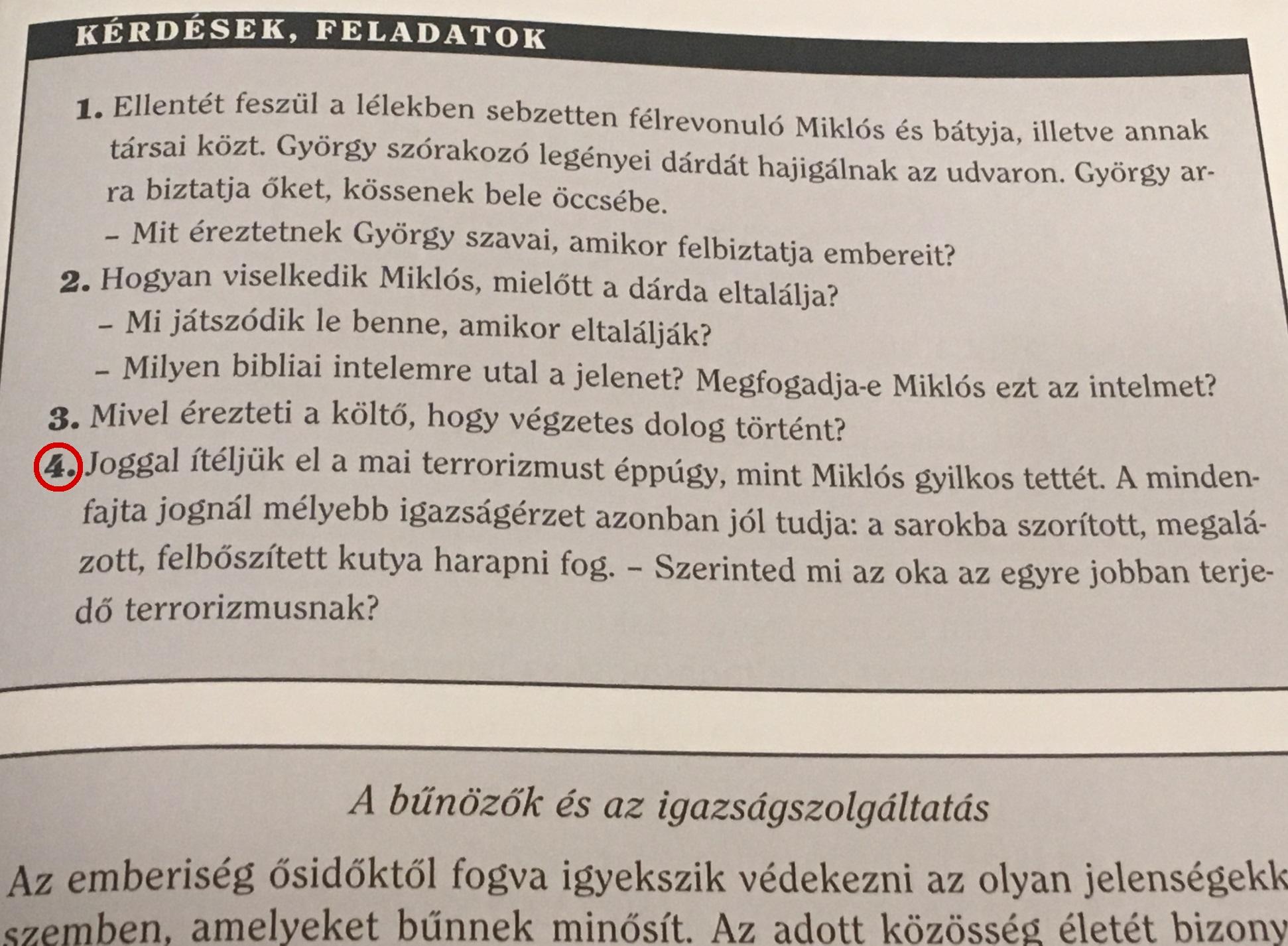 """Egy kérdés a 6.-os állami irodalomtankönyvből: """"Szerinted mi az oka az egyre jobban terjedő terrorizmusnak?"""""""
