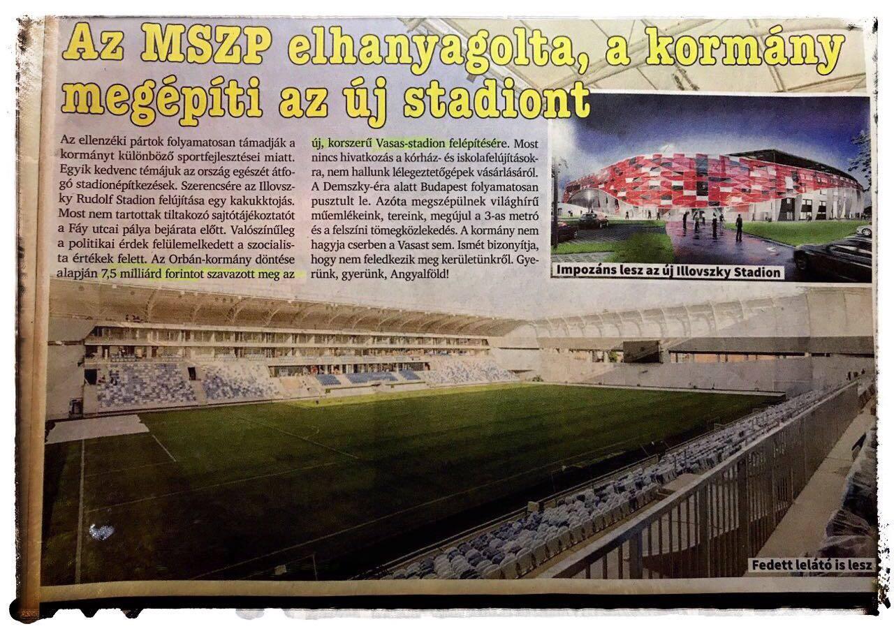Az Angyalföld bevételére készülő fideszes Harrach Tamás az épülő Vasas-stadionnal kampányolt, bár ne tette volna
