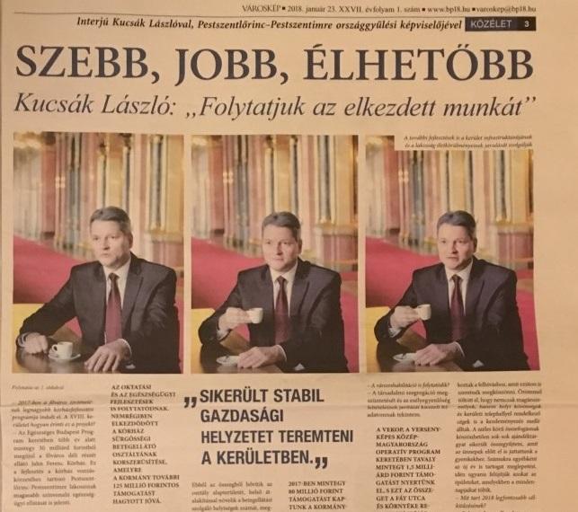 Kucsák László fideszes képviselő az önkormányzati lapban nyomtatott animgifen issza a kávéját