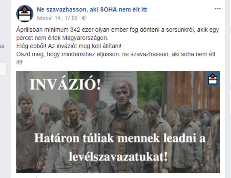 Eltűnt a Facebookról a határon túli szavazókat zombiként ábrázoló oldal
