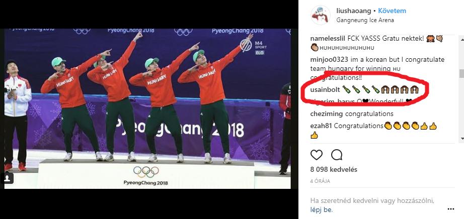 Usain Bolt az Instagramon üzente meg Liu Shaoangnak, hogy küldi a pezsgőt a győztes magyar váltónak