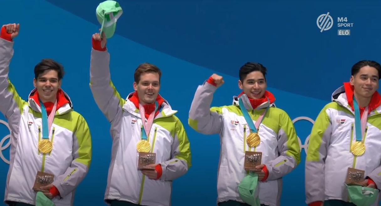 Schmitt Pál akasztotta az aranyérmet olimpiai bajnok gyorskorcsolyásaink nyakába