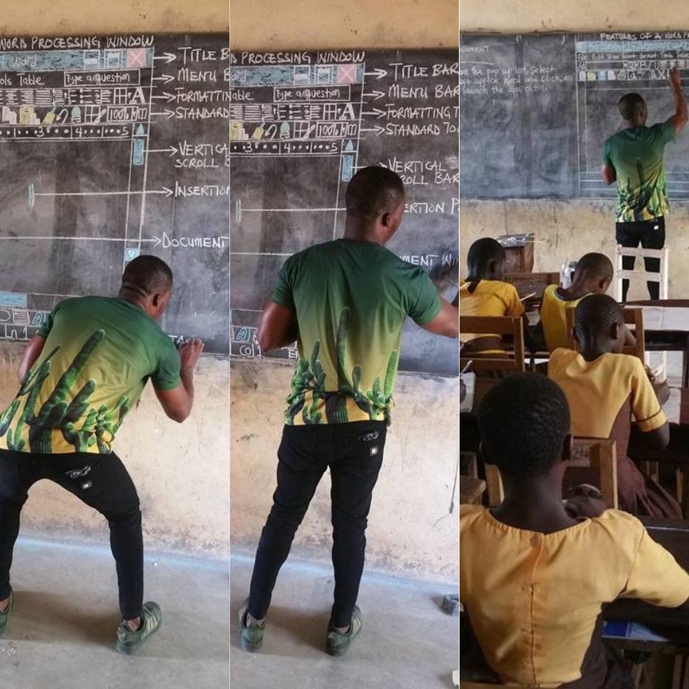 A nap netes szenzációja a ghánai tanár, aki számítógépek nélkül tanítja számítógépezni a diákokat