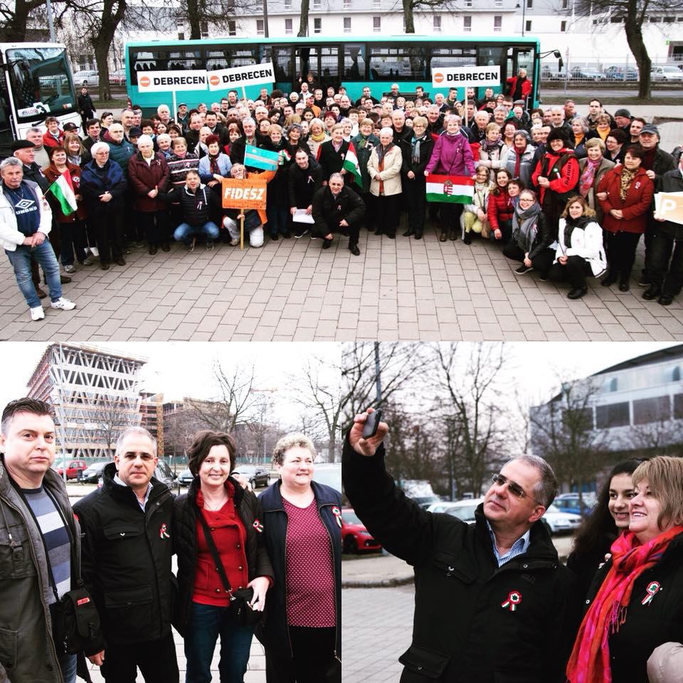 Maga Kósa Lajos miniszter és pénzügyi közvetítő hozza fel a Békemenetre a fideszeseket Debrecenből