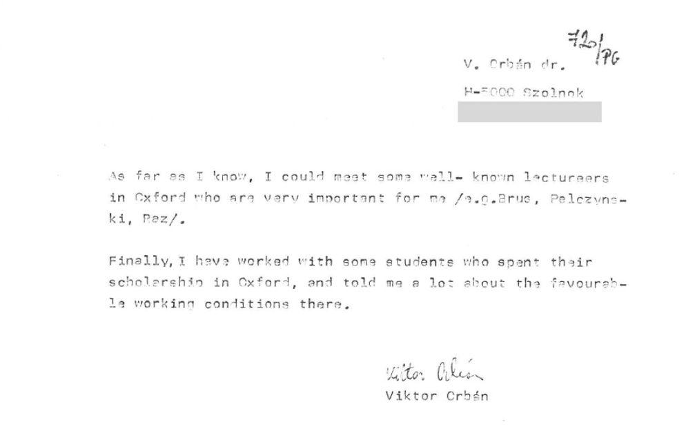 Közzétették Orbán motivációs levelét, amivel a Soros-ösztöndíjra pályázott